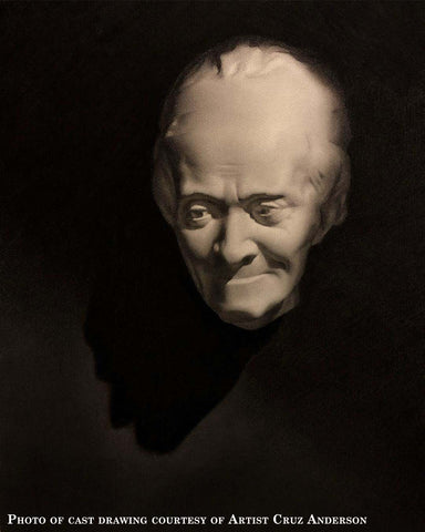 Photo of image of charcoal cast drawing of a plaster cast mask with dramatic shadows and a dark background