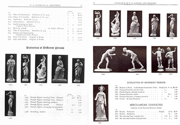 Scans from the 1905 and 1911 Caproni catalogs showing the statue