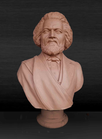 Photo of red-colored clay model of Frederick Douglass bust with beard and in suit coat with toga over one shoulder on a dark gray background