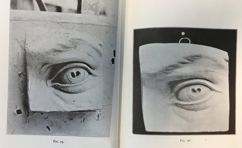 two scanned pages from Lanteri's book with black and white photos of plaster cast of eye from Michelangelo's David on the right and clay model of it on the left