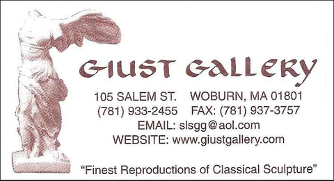 scan of Giust Gallery business card with white background, red font, and Victory of Samothrace