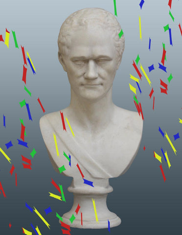 Photo of plaster cast bust of Alexander Hamilton with confetti surrounding it and gray background