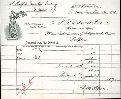 scan of old P.P. Caproni and Brother invoice from 1898