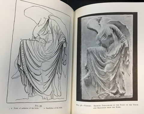 two scanned pages from Lanteri's book with black and white photos of plaster cast of Nike Fixing Her Sandal on the right and sketch of it on the left