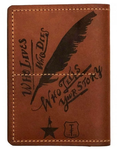 Photo of one side of brown leather passport wallet with lyrics, quill, and logos in black