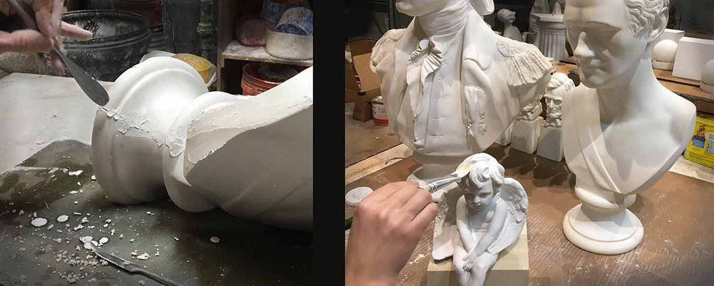 collage of two photos, one with plaster bust's seam being worked on with sculpting tool, and one with a table of an angel figure being painted and two busts behind it