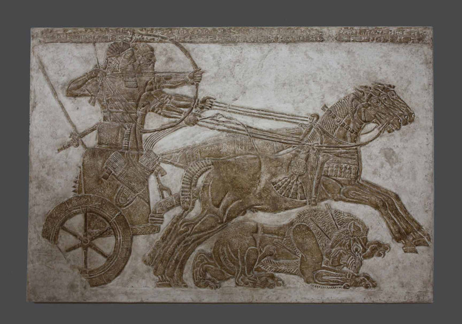 photo of plaster cast of ancient relief of two men in a chariot pulled by three horses and a wounded lion under their legs on a gray background