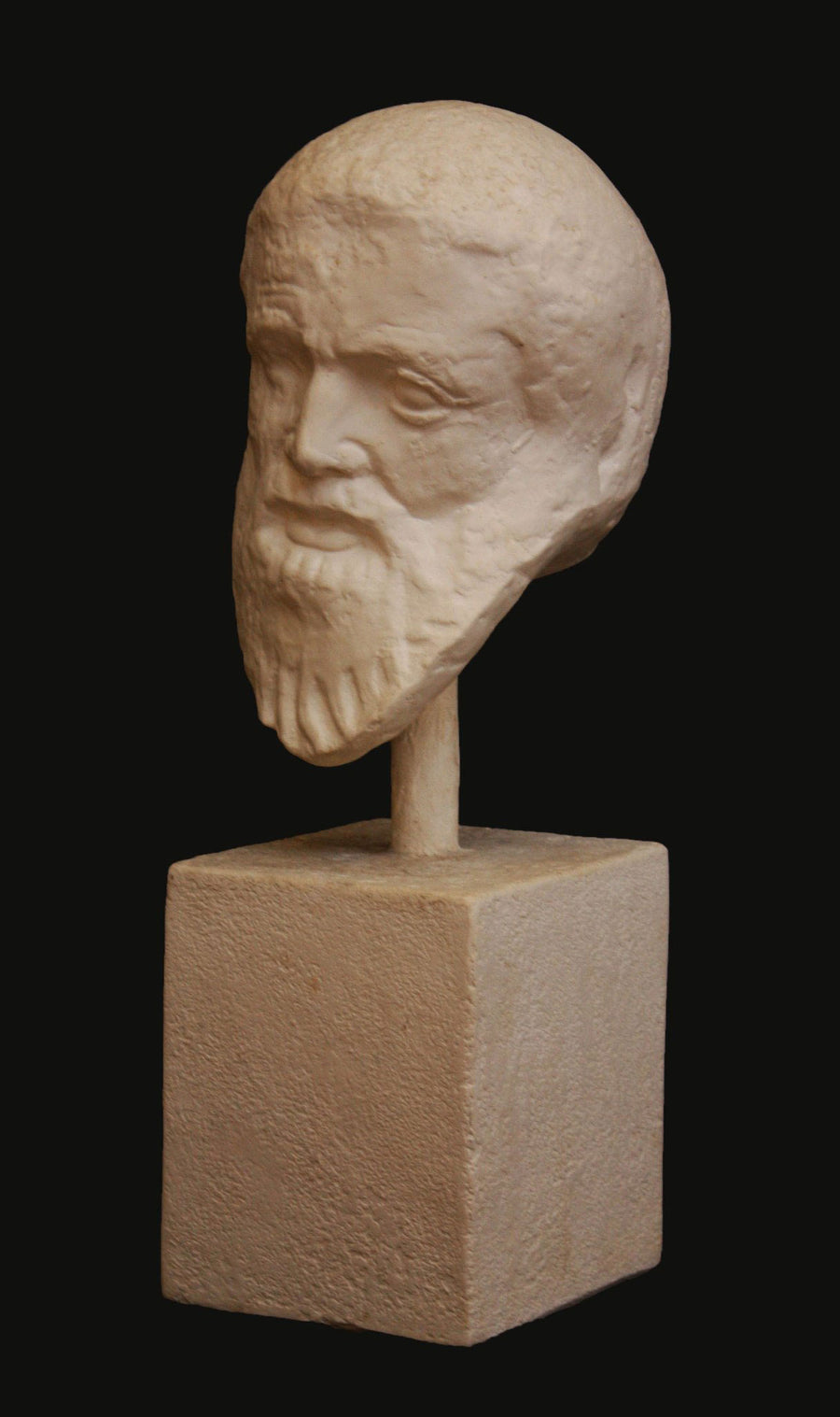 photo with black background of plaster cast of male bust of Zeus attached to a square base with a pole
