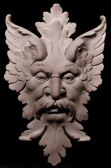 photo of off-white plaster cast sculpture relief of moustached man's face made of leaves with black background