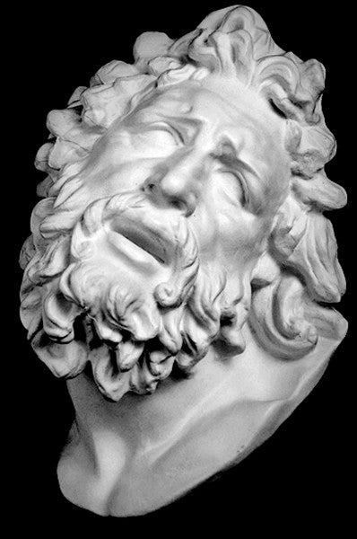 black and white photo with black background of plaster cast sculpture of male head with curly hair and beard, namely Laocoon