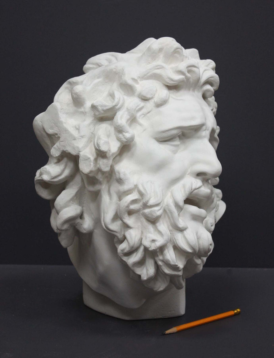 photo with gray background of plaster cast sculpture of male head with curly hair and beard, namely Laocoon, and yellow pencil