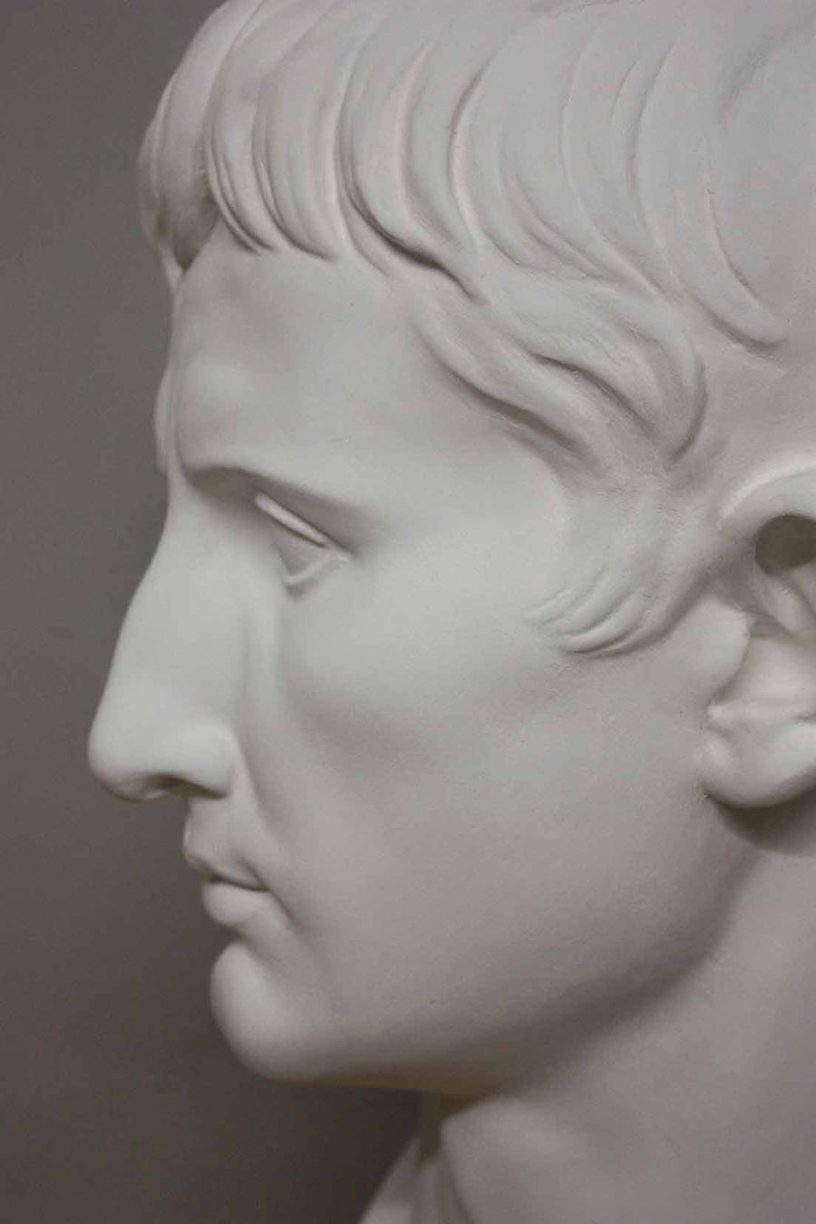 closeup photo of plaster cast bust of man, namely Augustus Caesar, with gray background