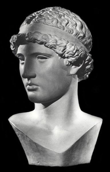 photo with black background of plaster cast sculpture bust of female figure, namely the goddess Athena, with short, curly hair and headband