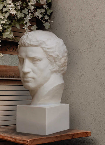 Photo of plaster cast sculpture of man's head on a wooden shelf with a stucco wall, window shutters, and a plant of ivy above