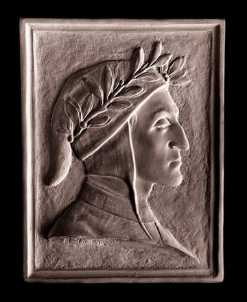 photo of plaster cast of rectangular plaque with male portrait, namely Dante Alighieri, in profile on black background