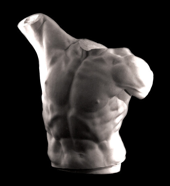 photo with black background of plaster cast sculpture of male torso, namely Laocoon