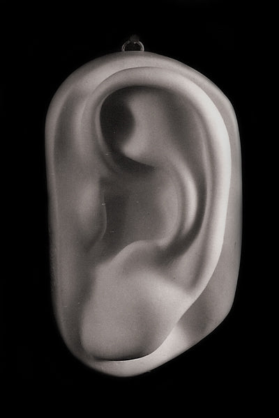 Photo plaster cast of an ear from a sculpture's head on a black background