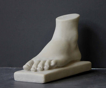 Photo of plaster cast of female left foot with a grey background