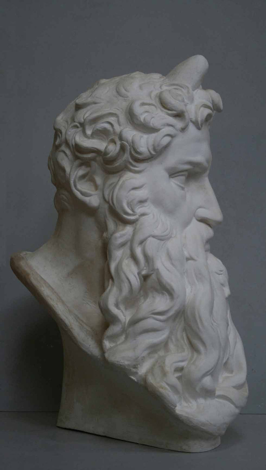 photo of plaster cast bust of man, namely Moses, with curly hair and so-called horns and long beard on gray background