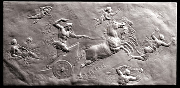 black and white photo of plaster cast relief sculpture of partially nude male figure in horse-drawn chariot flying, and other figures around them
