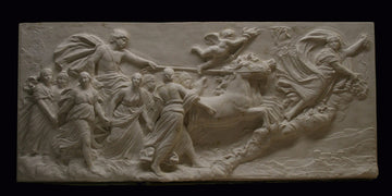 photo of a plaster cast sculpture relief of a woman, namely the goddess Aurora, flying and leading a chariot with a man pulled by horses towards the right while a cherub and other women fill the scene, on a black background