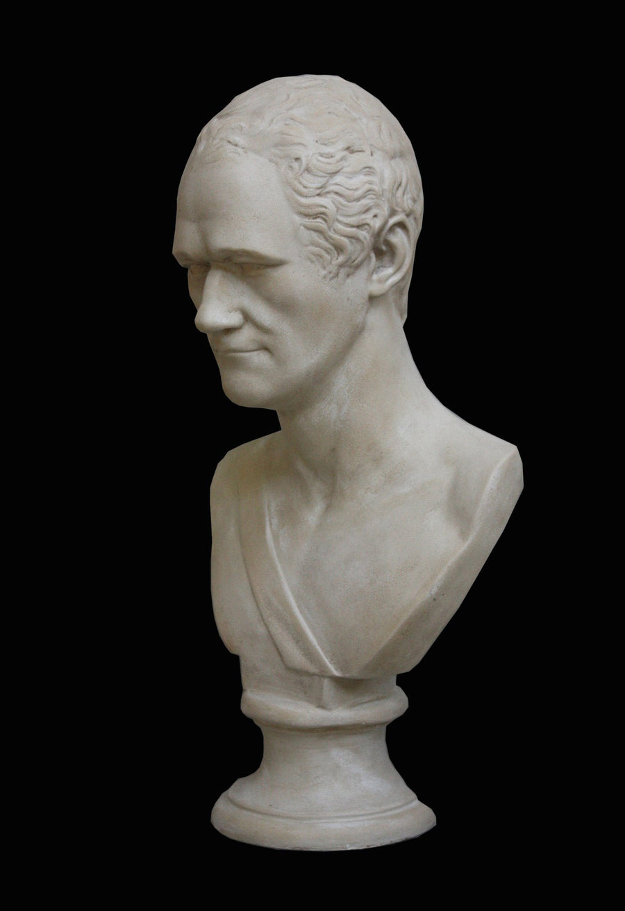 photo with black background of plaster cast bust of Alexander Hamilton