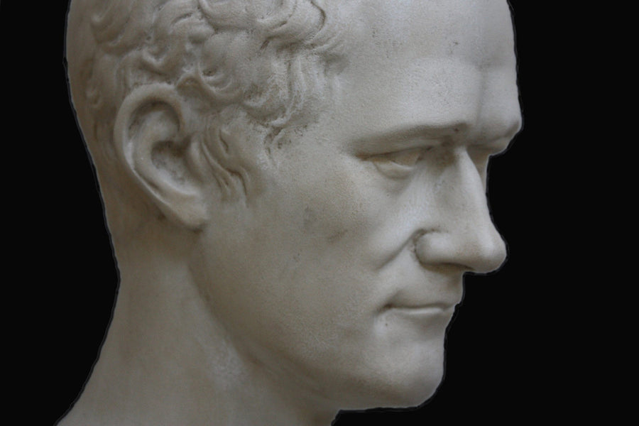 photo closeup with black background of plaster cast bust of Alexander Hamilton