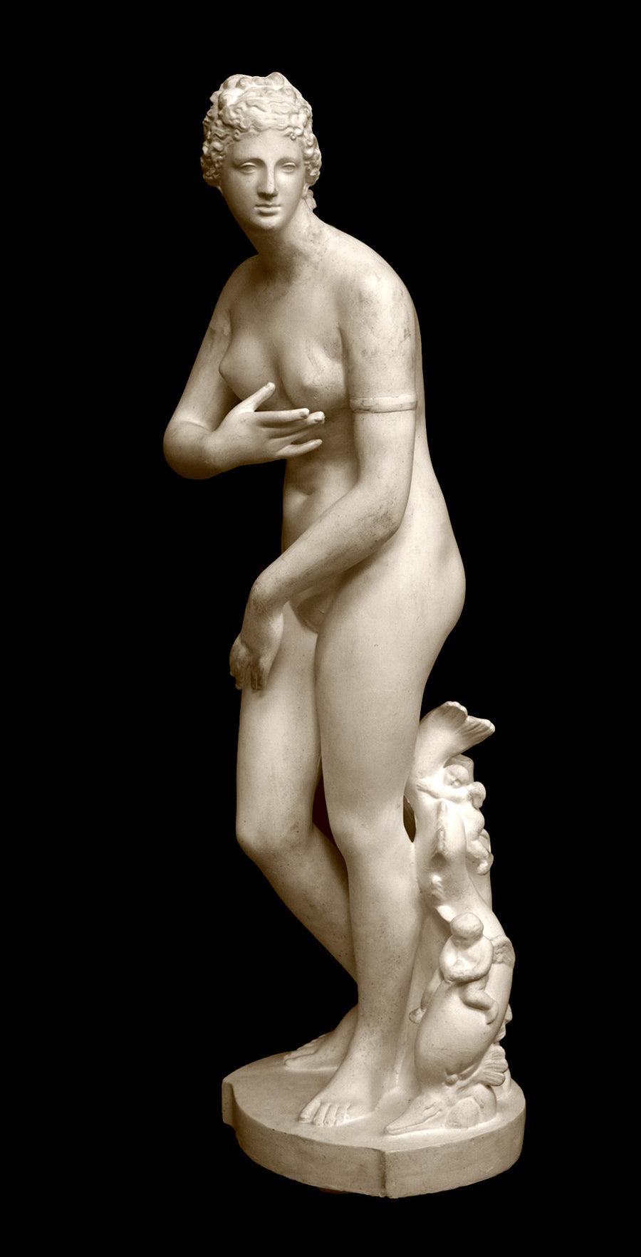 photo of plaster cast sculpture of Venus standing nude with two putti riding a dolphin at her feet