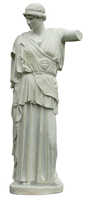 photo with white background of plaster cast of female figure, the goddess Athena, with robes and short, curly hair and headband