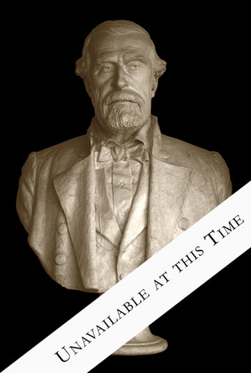 photo of off-white plaster cast sculpture bust of Robert E Lee with beard and dressed in a suit on black background
