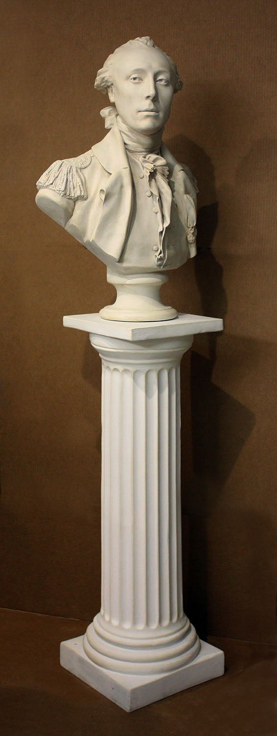 photo of plaster cast of male bust sculpture, namely Lafayette, in uniform on a Doric-like pedestal with brown background