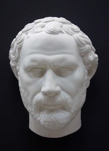 photo of white plaster cast of sculpture of face of Demosthenes with curly hair and beard on black background