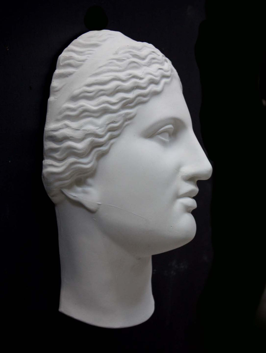 photo of white plaster cast of sculpture of face of Aphrodite of Knidos with wavy, pulled-back hair on dark gray background