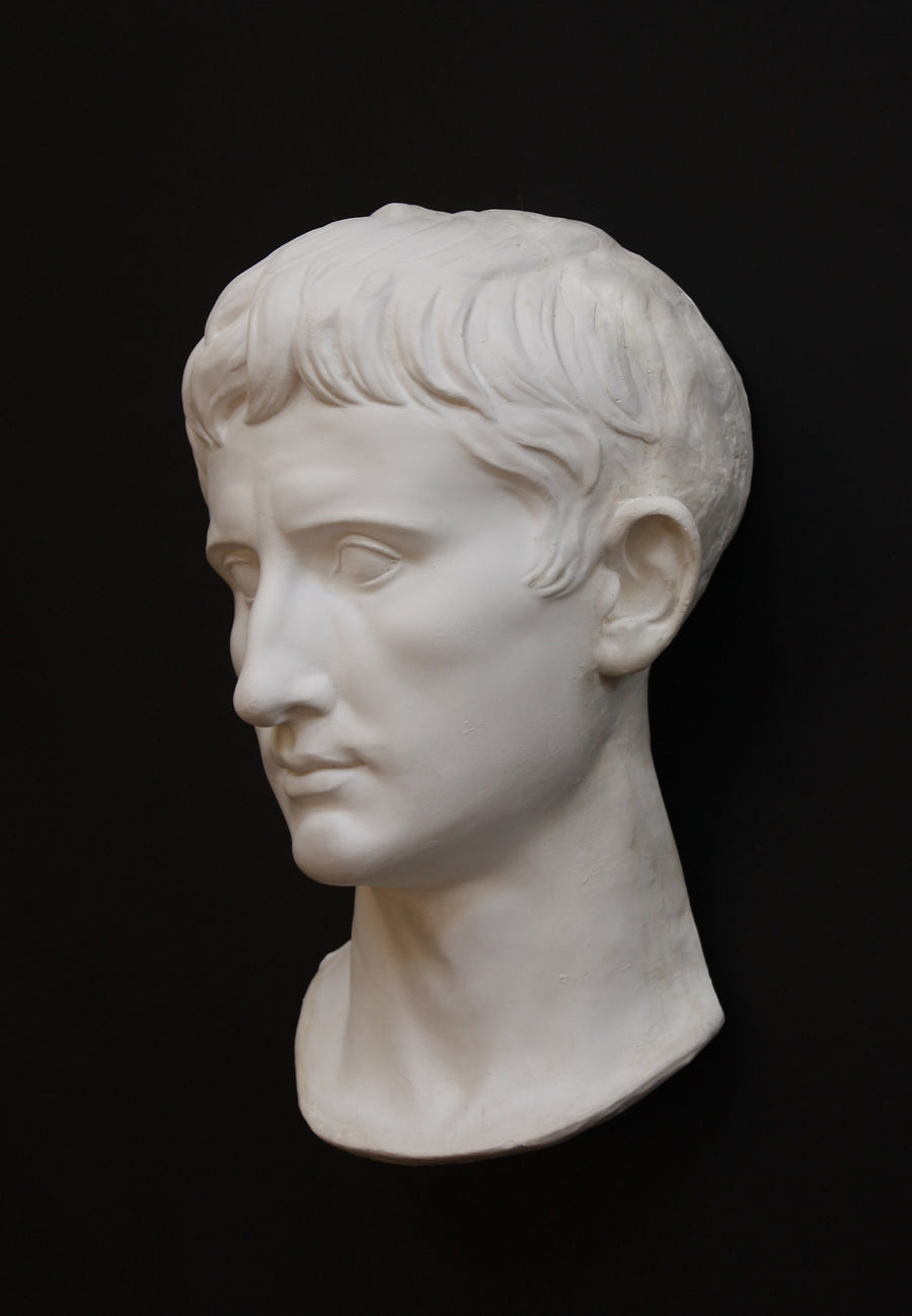 photo with gray background of plaster cast of man's face, namely Augustus Caesar