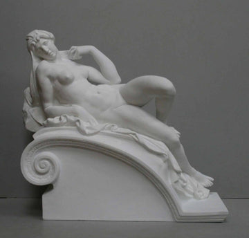 photo of plaster cast of reclining female nude with a gray background