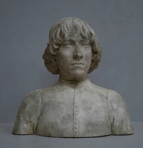 photo of plaster cast bust of man with high-neck shirt and shoulder-length hair with gray background