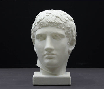 photo of plaster cast of sculpture of male head with flat, curly hair on dark gray background
