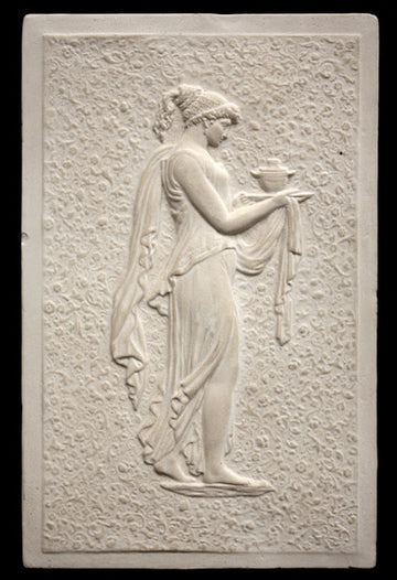 Photo of Plaster Cast relief sculpture of goddess Hebe in profile carrying jug