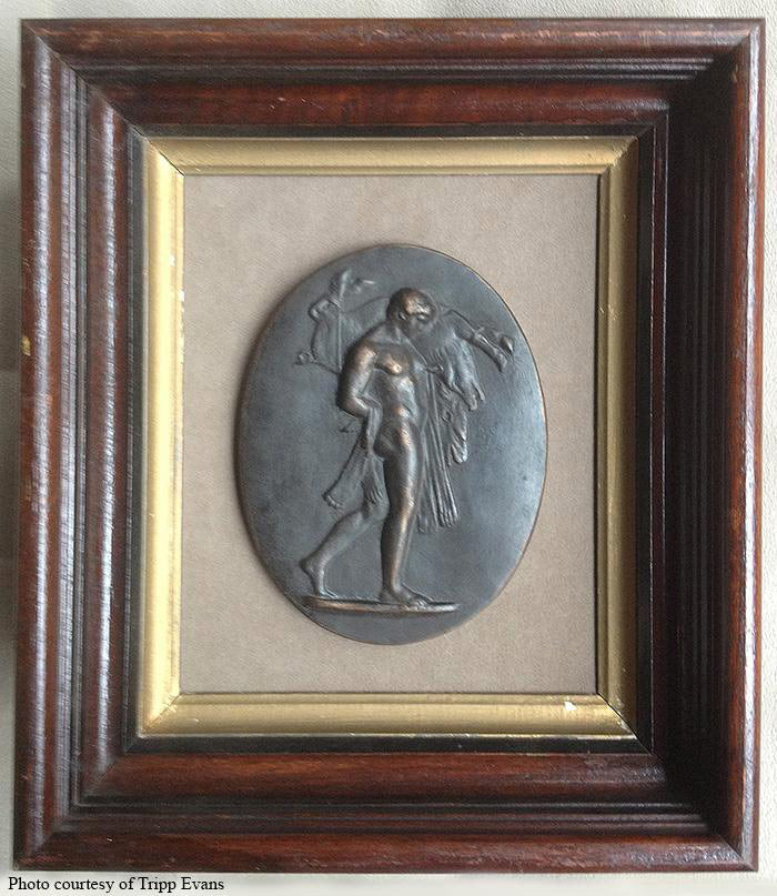 Image of a small faux-bronze plaque of Hercules carrying a boar in a wooden picture frame