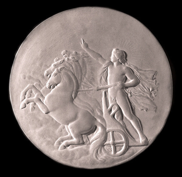 black and white photo of plaster cast relief sculpture of nude male figure in horse-drawn chariot flying