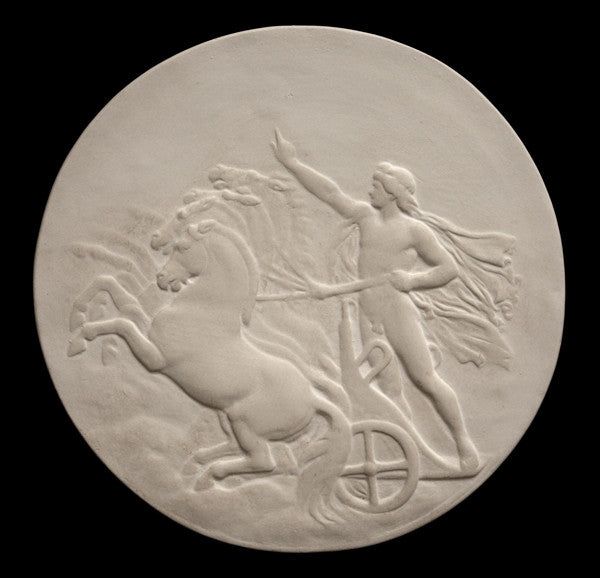 photo of plaster cast relief sculpture of nude male figure in horse-drawn chariot flying