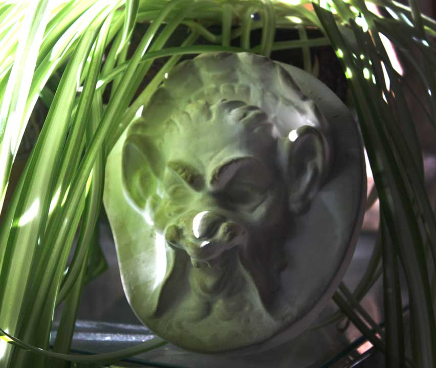 Photo of plaster sculpture of a Faun Head with dappling light and a spider plant on the left