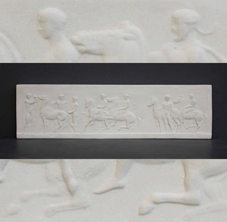 photo of plaster cast of small ancient relief with figures and horses with a background of the same image zoomed-in