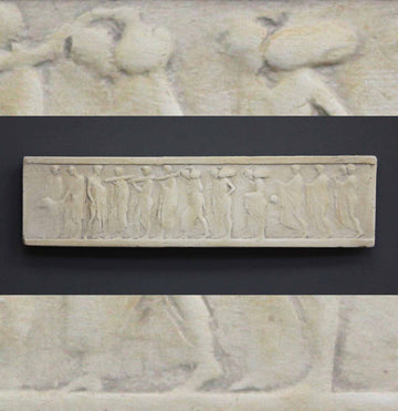 photo of plaster cast of small ancient relief with figures with a background of the same image zoomed-in