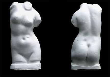 Photo with black background of plaster cast sculpture of female torso from the front and from the back