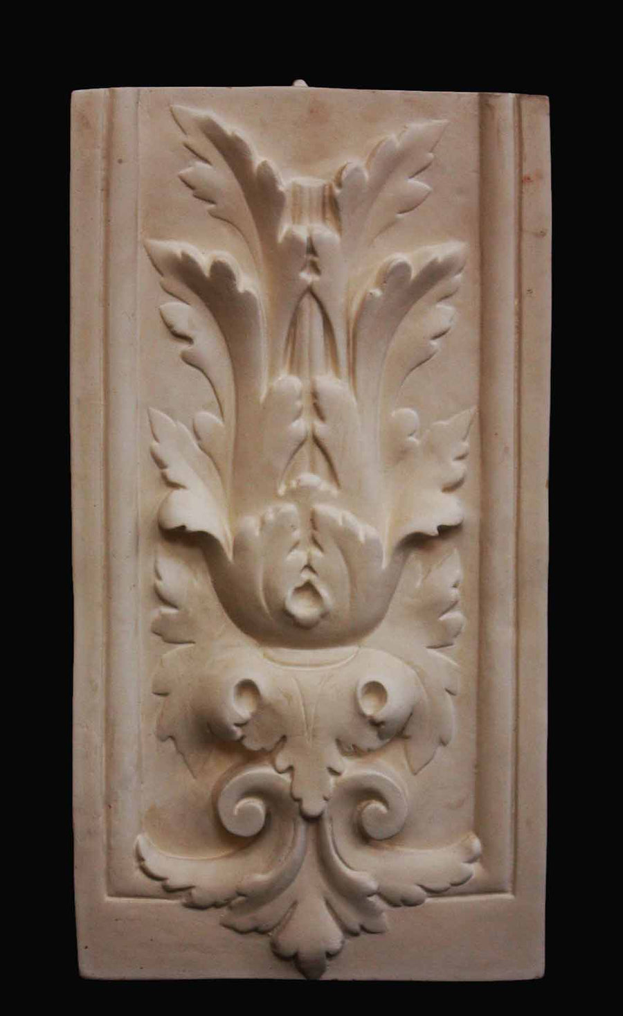 photo with a black background of plaster cast of sculpture relief with leaf ornamentation