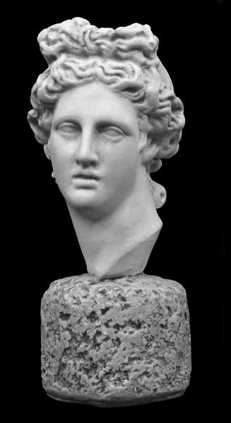 photo of plaster cast sculpture bust of man, namely the god Apollo, with hair piled high in the front and a broach near his neck holding robes on a black background