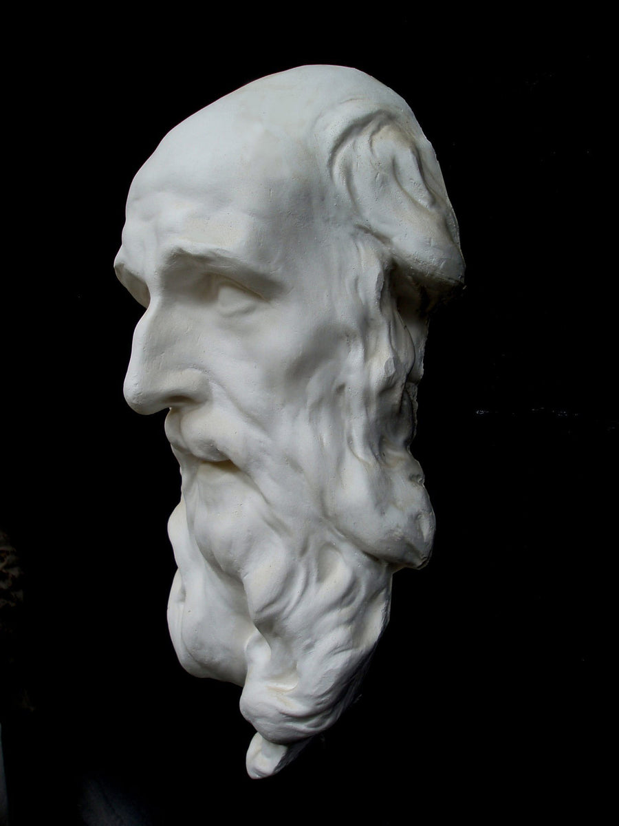 photo with black background of plaster cast of male face with long beard
