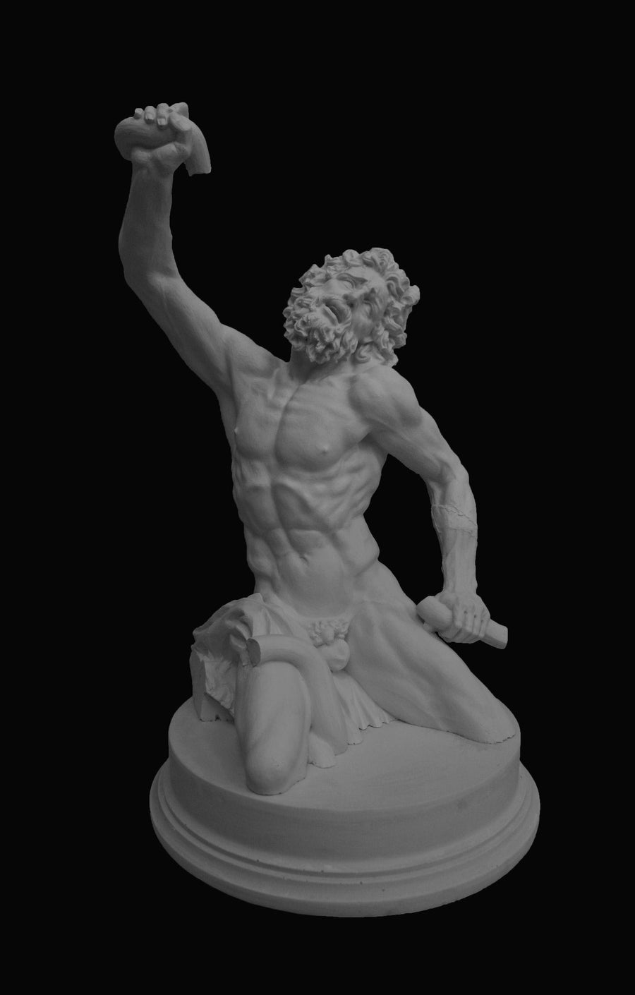 photo with black background of plaster cast sculpture of partially nude male figure, namely Laocoon, kneeling and one arm down and one raised and curly hair and beard