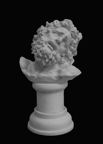 photo with black background of plaster cast of sculpted male bust with curly hair and beard, namely Laocoon, on small pedestal